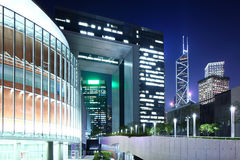 Government headquarter in Hong Kong. At night Stock Images