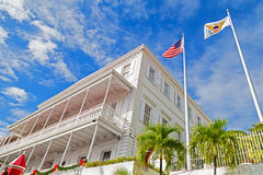 Government House and flags on St Thomas Island Royalty Free Stock Photography