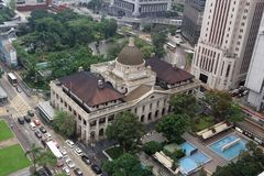 Aerial view, Government House, Hongkong. Government House located on Government Hill in the Central District of Hong Kong Island, is the official residence of royalty free stock photos