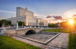 Government House. House of the Government of Moscow in the evening sunlight Stock Images