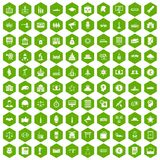 100 government icons hexagon green. 100 government icons set in green hexagon isolated vector illustration Royalty Free Stock Image