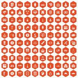 100 government icons hexagon orange. 100 government icons set in orange hexagon isolated vector illustration Stock Images