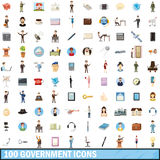 100 government icons set, cartoon style Stock Photos