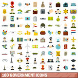 100 government icons set, flat style Stock Image