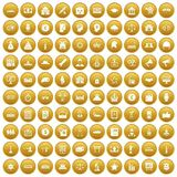 100 government icons set gold. 100 government icons set in gold circle isolated on white vectr illustration Stock Illustration