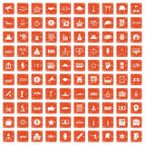 100 government icons set grunge orange. 100 government icons set in grunge style orange color isolated on white background vector illustration Stock Images