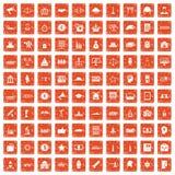 100 government icons set grunge orange. 100 government icons set in grunge style orange color isolated on white background vector illustration royalty free illustration