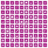 100 government icons set grunge pink. 100 government icons set in grunge style pink color isolated on white background vector illustration Stock Image