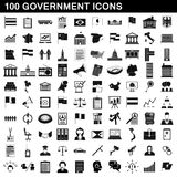 100 government icons set, simple style Stock Photo