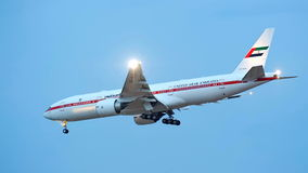 Government jet United Arab Emirates Boeing 777 landing at Changi Airport Royalty Free Stock Image