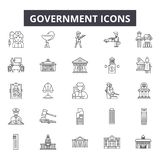 Government line icons for web and mobile design. Editable stroke signs. Government  outline concept illustrations. Government line icons for web and mobile royalty free illustration