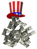Government money. Isolated illustration of banknotes falling from Uncle Sam hat Stock Photography