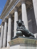 Government office Congress of Deputies of Spain bronze lion scul Royalty Free Stock Image