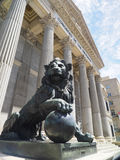 Government office Congress of Deputies of Spain with bronze lion Royalty Free Stock Photo