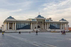 Government Palace with Genghis Khan statue Stock Photos