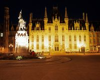 Government Palace at night, Bruges. Royalty Free Stock Photo