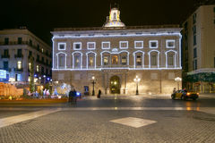 Government Palace (Palau de la Generalitat) at night, Barcelona, Royalty Free Stock Image
