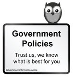 Government Policies. Monochrome comical Government policies sign isolated on white background vector illustration