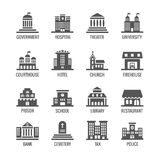 Government, public building vector icons set Royalty Free Stock Photo