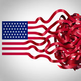 Government Red Tape. Concept and American bureaucracy symbol as an icon of the flag of the United States with the red stripes getting tangled in confusion as a royalty free illustration