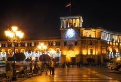 The Government of the Republic of Armenia on Republic Square in Yerevan at night, Armenia. stock photos