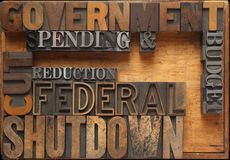 Government shutdown. Words related to a possible government shutdown Stock Photos