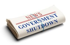 Government Shutdown. Folded Newspaper With Headline Government Shutdown Isolated on White royalty free stock images
