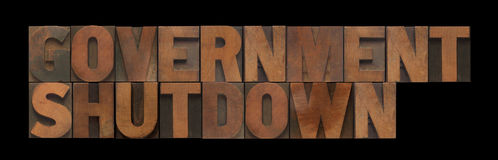 Government shutdown in old wood type Stock Image