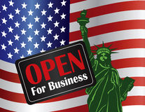 Government Shutdown Open Sign with Statue of Liber Stock Image