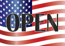 Government Shutdown Open Sign with US Flag Illustr Stock Photography