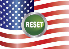 Government Shutdown Reset Button with US Flag Illu. Government Shutdown Reset Button with US American Flag Background Illustration Stock Image
