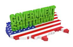 Government Shutdown with United States Map Flag Isolated. On white background. 3D render royalty free illustration