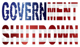 Government Shutdown US Flag Illustration Stock Images