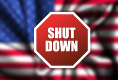 Government Shutdown USA concept with American flag . protest stock image