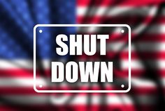 Government Shutdown USA concept with American flag . protest royalty free stock image