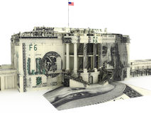Government spending. White house with money exterior stock illustration