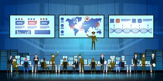 Government Surveillance Agency and Military Joint Operation in command control center. People and the military Working. Government Surveillance Agency and royalty free illustration