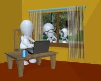 Government surveillance of a 3d man using his computer. Stock Photos