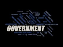 Government - word cloud wordcloud - terms from the globalization, economy and policy environment Royalty Free Stock Photos