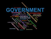 GOVERNMENT - word cloud wordcloud - terms from the globalization, economy and policy environment. Wordcloud with series of terms from the globalization, economy Royalty Free Stock Photo