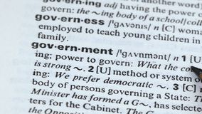 Government word meaning in vocabulary, power of ruling country, democracy. Stock footage stock video footage