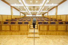 Governmental conference room. Microphone in the center of area Stock Images