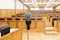 Governmental conference room. Microphone close-up Royalty Free Stock Photos