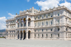 Governmental palace at the Piazza Unita d`Italia Unity square. In Trieste, Italy Royalty Free Stock Photos