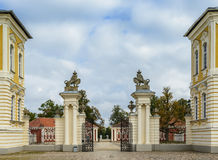 Governmental Rundale palace in Latvia, Europe. Entrance to governmental historical museum of Rundale Palace, it was summer Residence of Courland (Latvia) Duke Stock Photography