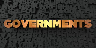 Governments - Gold text on black background - 3D rendered royalty free stock picture Royalty Free Stock Photography