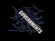 Governments - word cloud wordcloud - terms from the globalization, economy and policy environment. Wordcloud with series of terms from the globalization, economy Royalty Free Stock Photography
