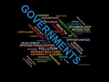 GOVERNMENTS - word cloud wordcloud - terms from the globalization, economy and policy environment. Wordcloud with series of terms from the globalization, economy Stock Photography
