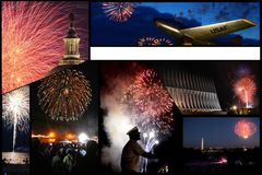 Governo & collage militare delle esposizioni dei fuochi d'artificio fotografia stock libera da diritti