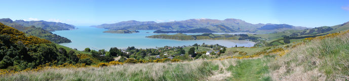 Governor Bay. A Panoramic look on governor Bay, coming down from Summit Road Reserve, Banks peninsula, New Zealand Stock Images